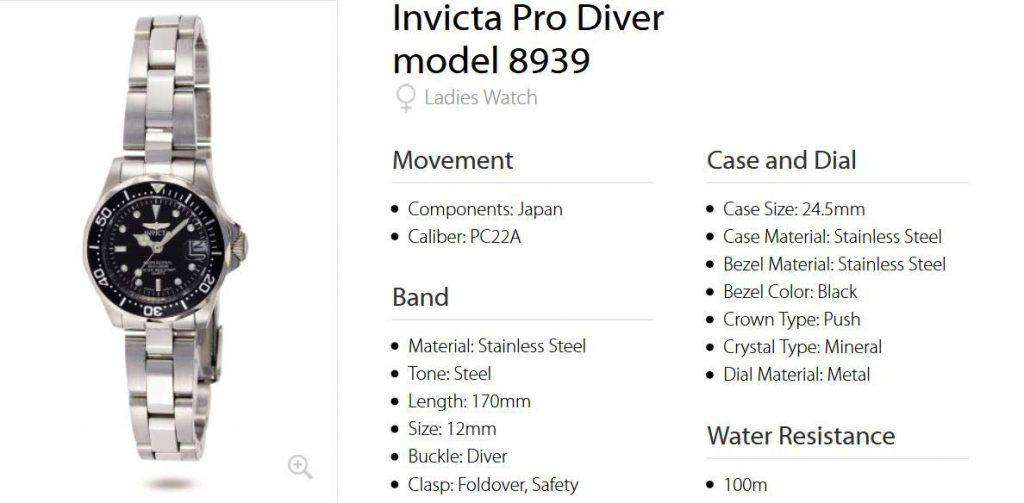 Invicta 8939 Pro Diver Women's Watch